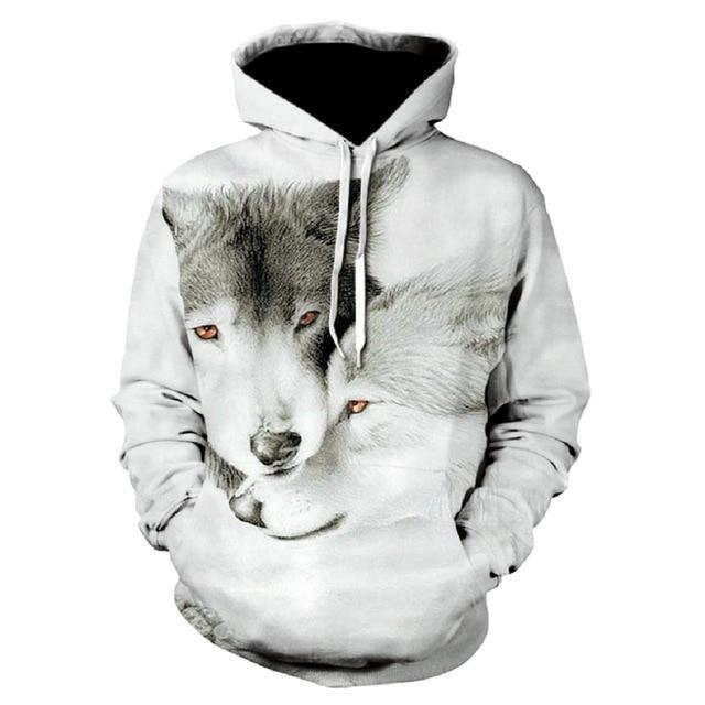 Man 3D Print Animal Wolf Men Hoody Sweatshirt Hip Hop Unisex Hoodies Pullover