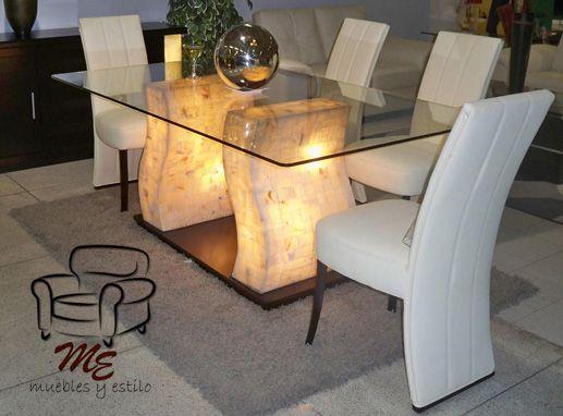 Base 100 madera y onix 6 sillas vinipiel blanco - Decoraciones de comedores ...
