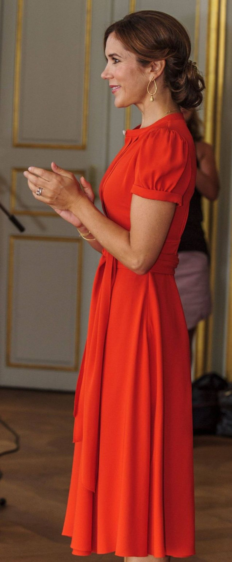 August 2012 - Crown Princess Mary - dress by Marc Jacobs