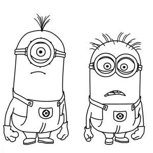Minion Stuart And Jerry Is Shocked The Minion Coloring