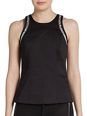 Snake-Embossed Leather Trimmed Top