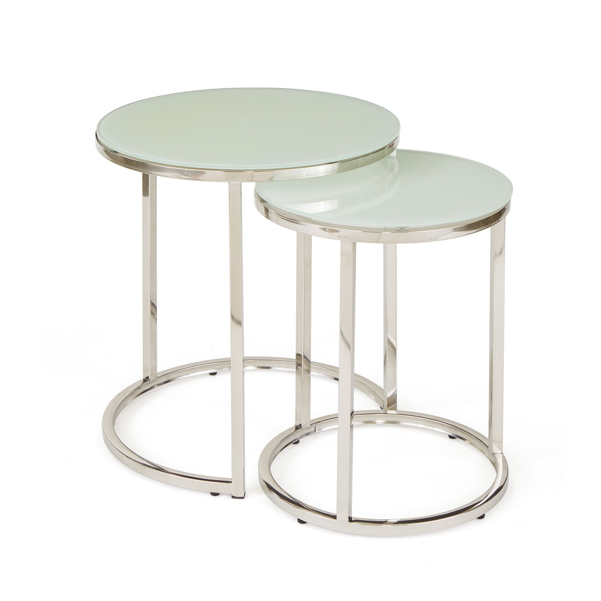 Round glass table top view hopkins nesting tables with round glass top on polished nickel metal