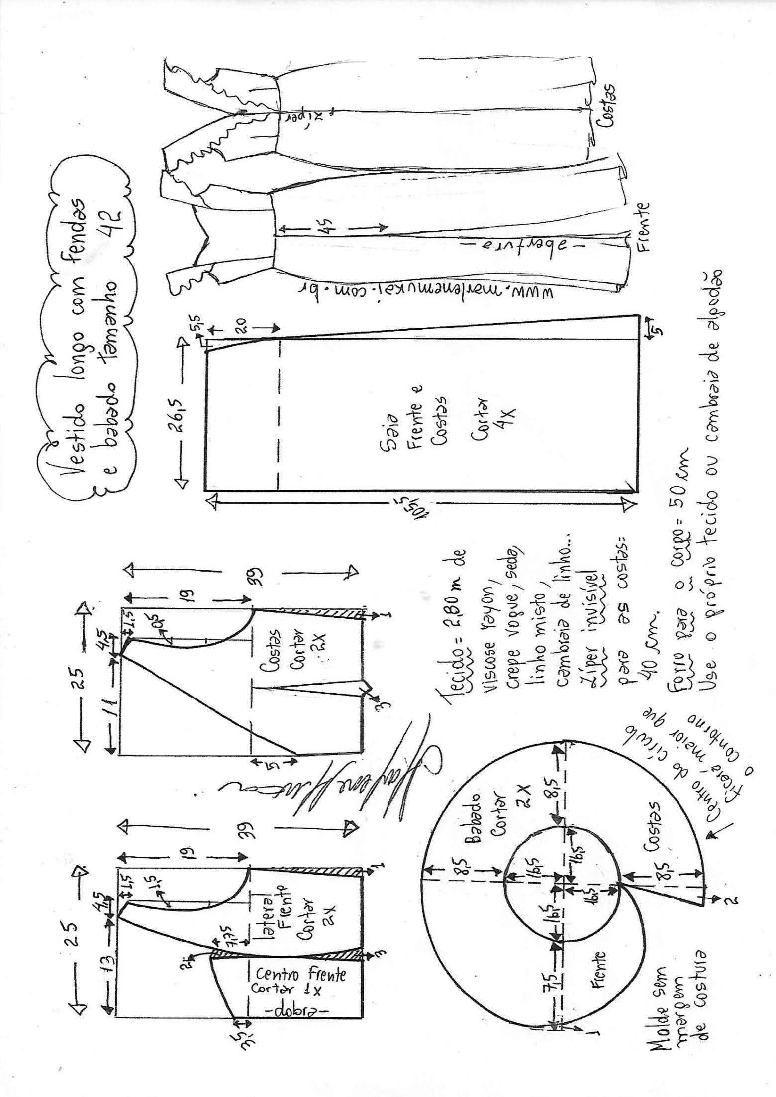 Vestido peplum com manga flare | Sp3 | Pinterest | Molde, Recortes y ...