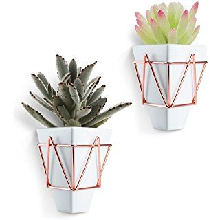 Love-KANKEI Wall and Desk Planters Vase White Ceramic and Copper Succulent Air Plants Mini Cactus Artificial Flowers Hanging Geometric Wall Decor Planter Pots