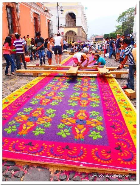Building The Beautiful Sawdust Carpets For Semana Santa