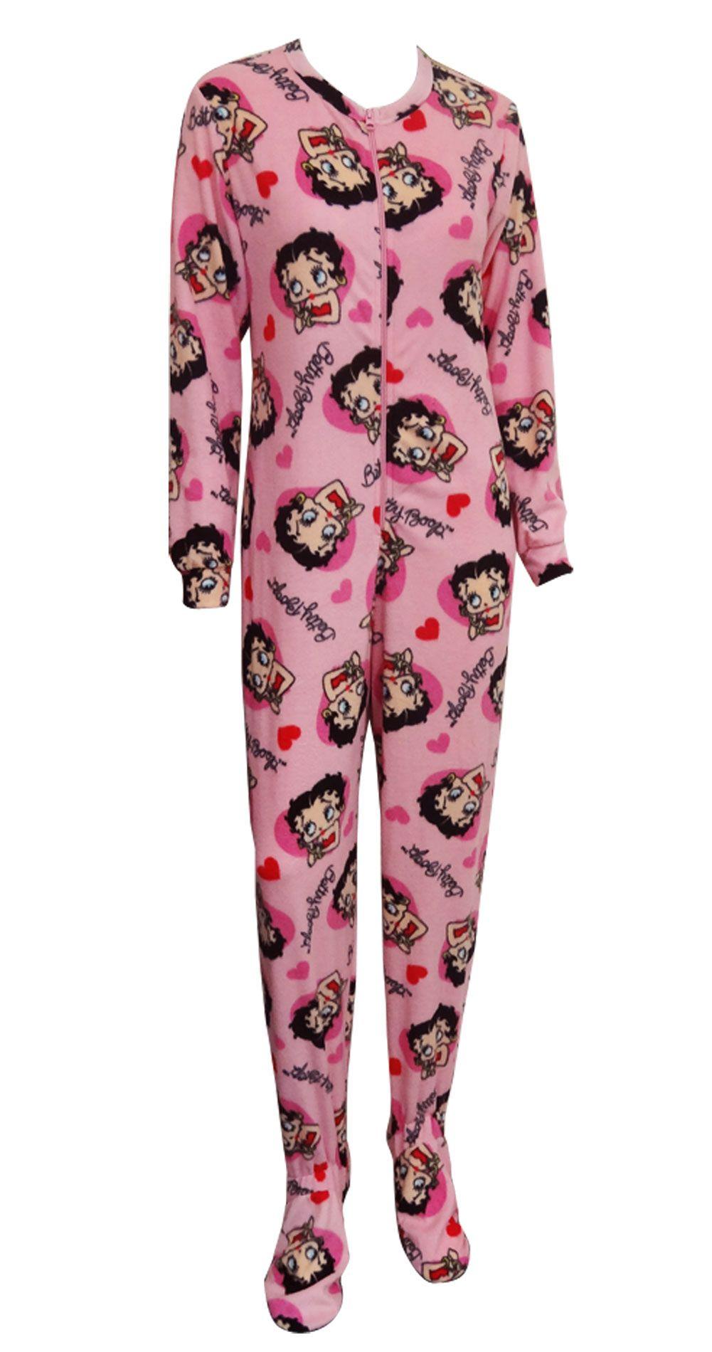 db97fbe5f3 ... lace up in 2ea56 1794d Betty Boop Pink Fleece Footie Onesie Pajama Betty  Boop is better ...