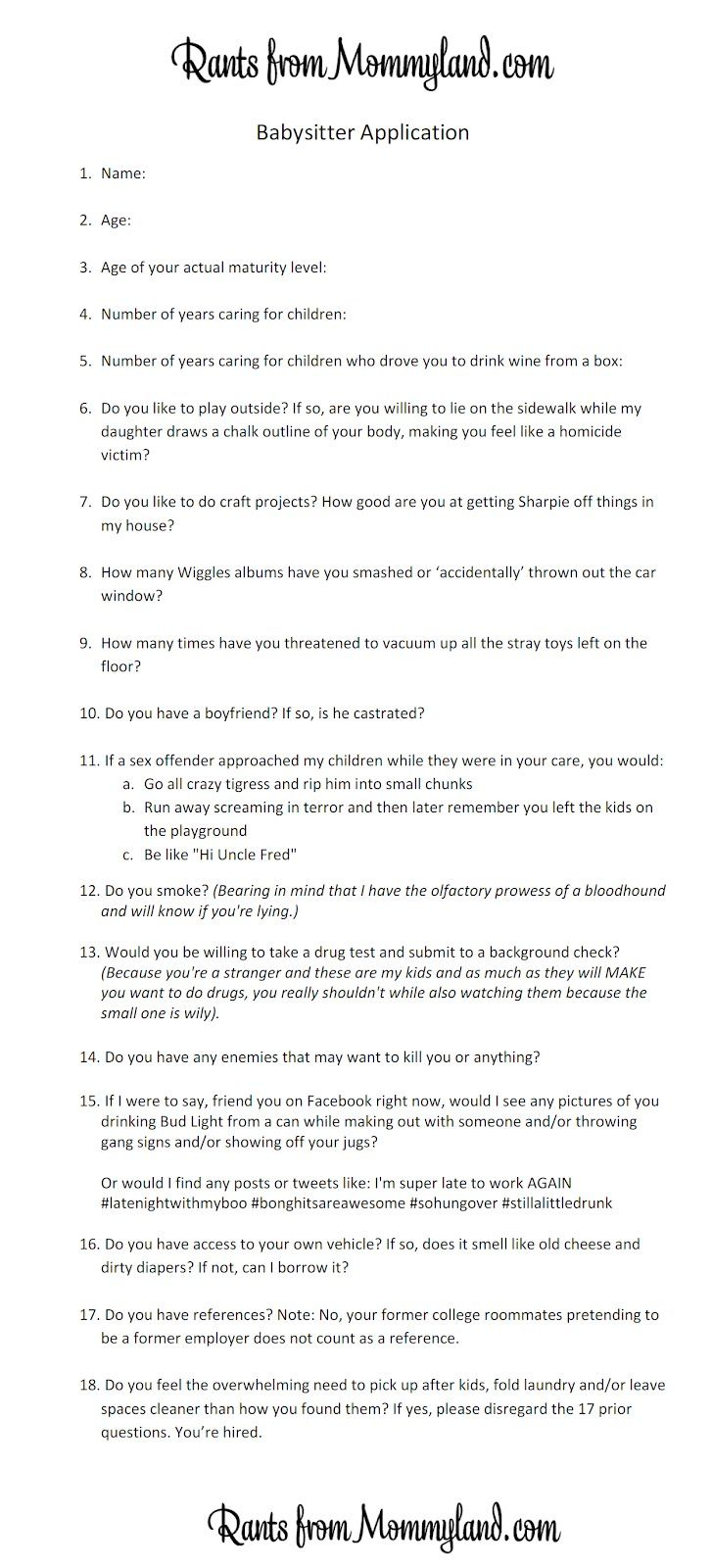 Babysitter application, just a tip right click view image
