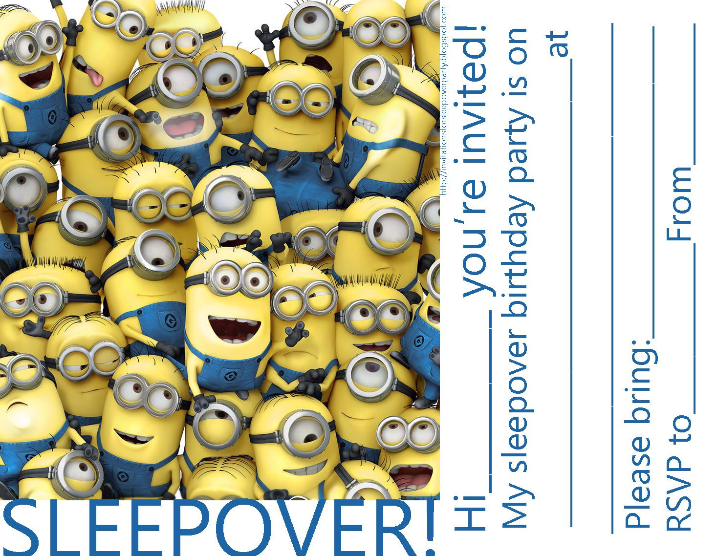 invitations for sleepover party: minions despicable me party, Party invitations