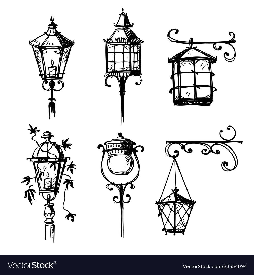 Set Of Old Hand Drawn Street Lamps Vector Image On Vectorstock Lamp Tattoo Ink Drawing Drawings