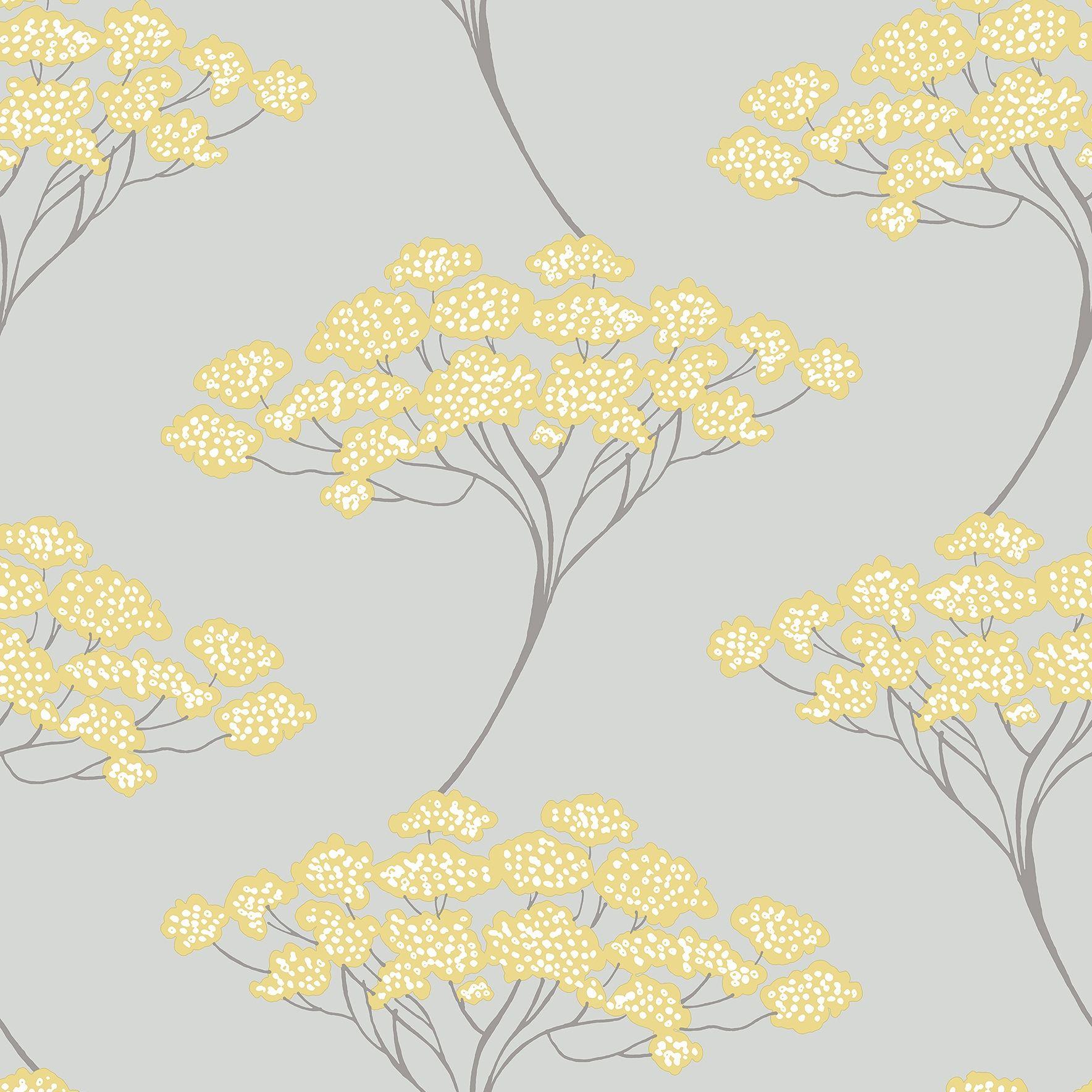 'Azmaara' grey & yellow banyan tree design. Beautiful!