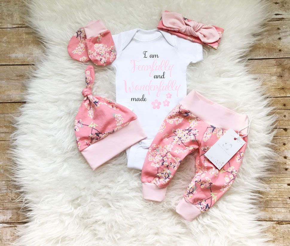 6fd1569319c Newborn Girl Outfit Baby Girl Coming Home Outfit I am Fearfully and Wonderfully  made Photo Prop