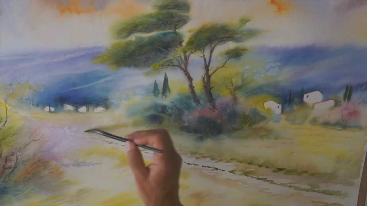 Demo Aquarelle En Mouille Sur Mouille Wet On Wet Watercolor