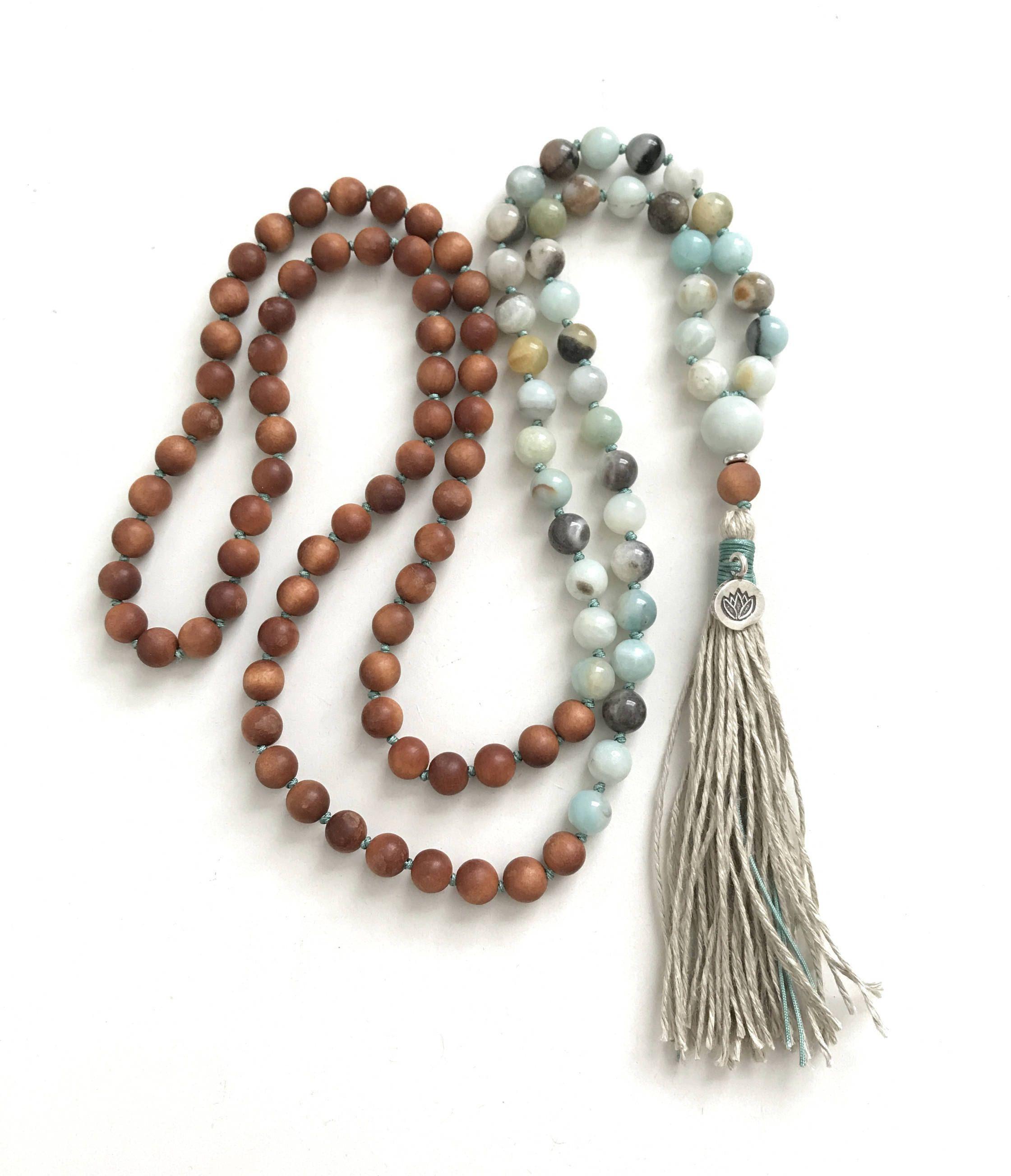 108 Bead Mala Sandalwood And Amazonite Mala Necklace Lotus