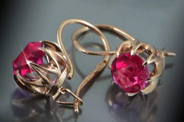 Ruby Russian Earrings Solid 14 Kt Rose Gold 585 Russian Gold Jewelry Dragocennye Kamni Yuvelirnye Ukrasheniya Sergi
