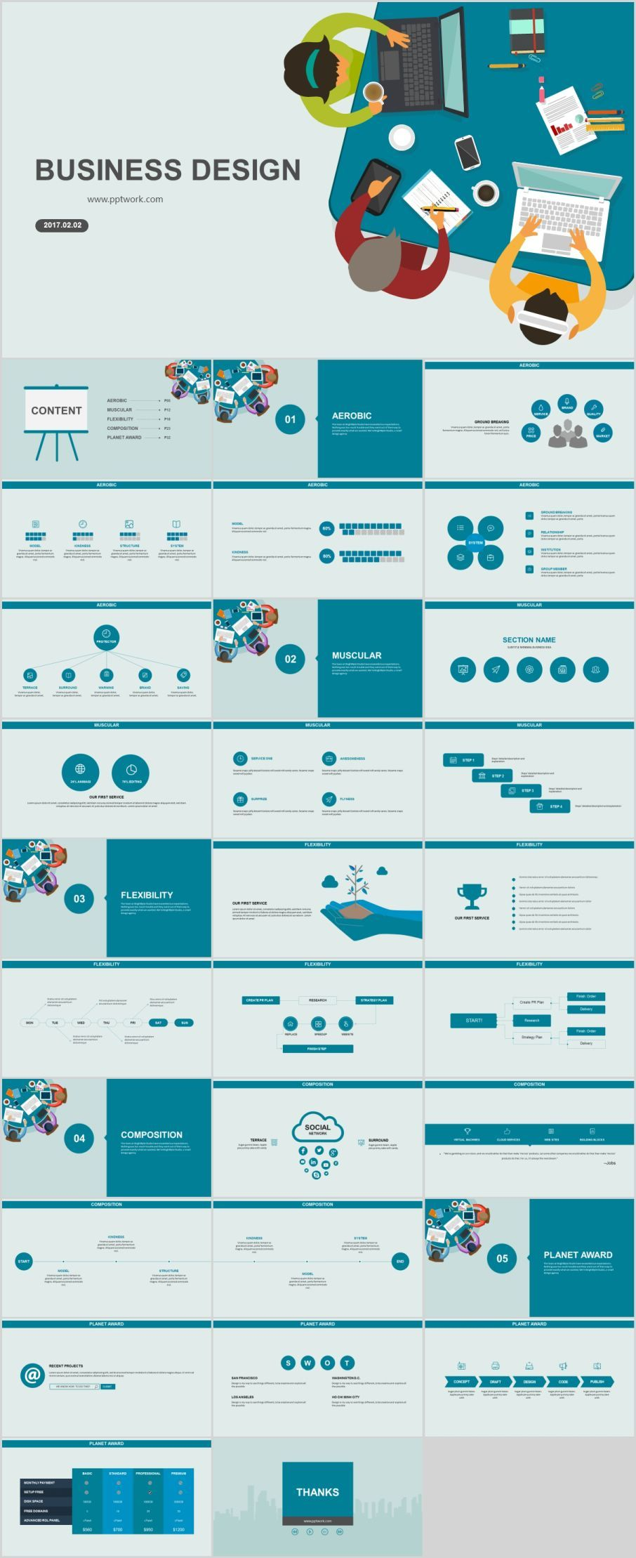 30 blue business design powerpoint templates プレゼンテーション