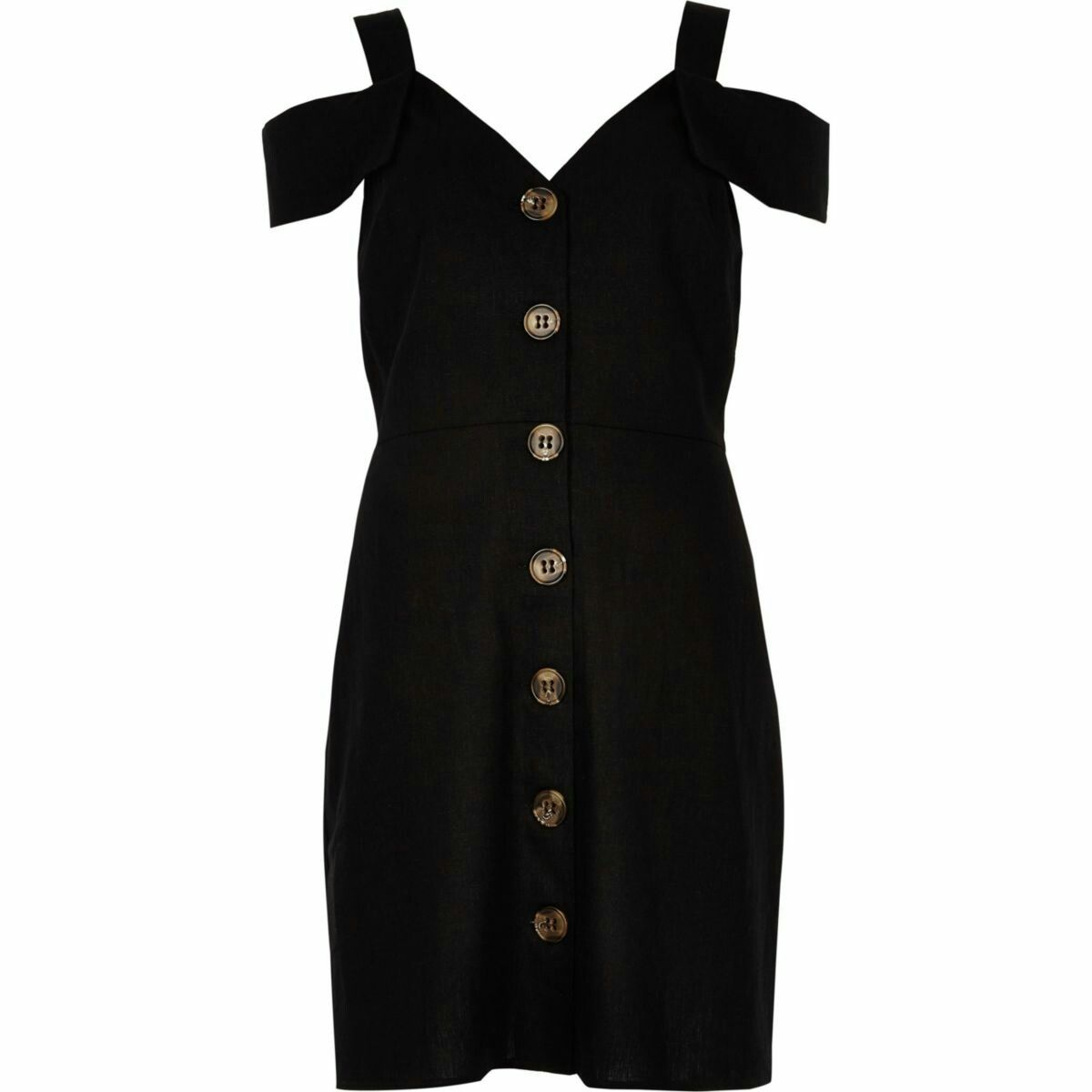c0bed39055e River Island Black button through bardot midi dress