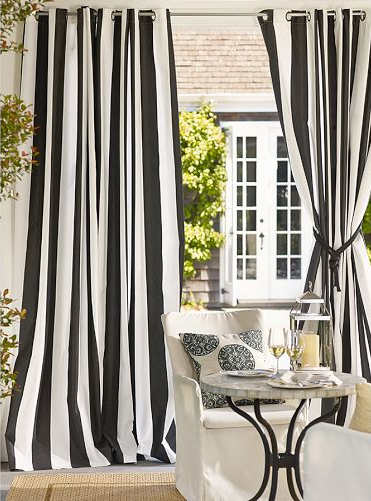 Black And White Drapes Pottery Barn Outdoor Grommet Curtains