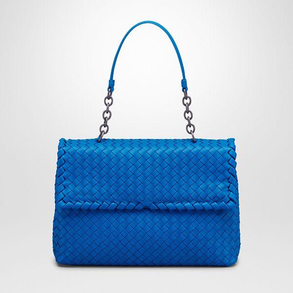 Bottega Veneta Signal Blue Intrecciato Nappa Olimpia Bag  b7988d2262897