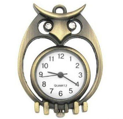 Unisex Retro Hallow Heart Owl Pocket Watch Antiqued Brass Quartz Watch