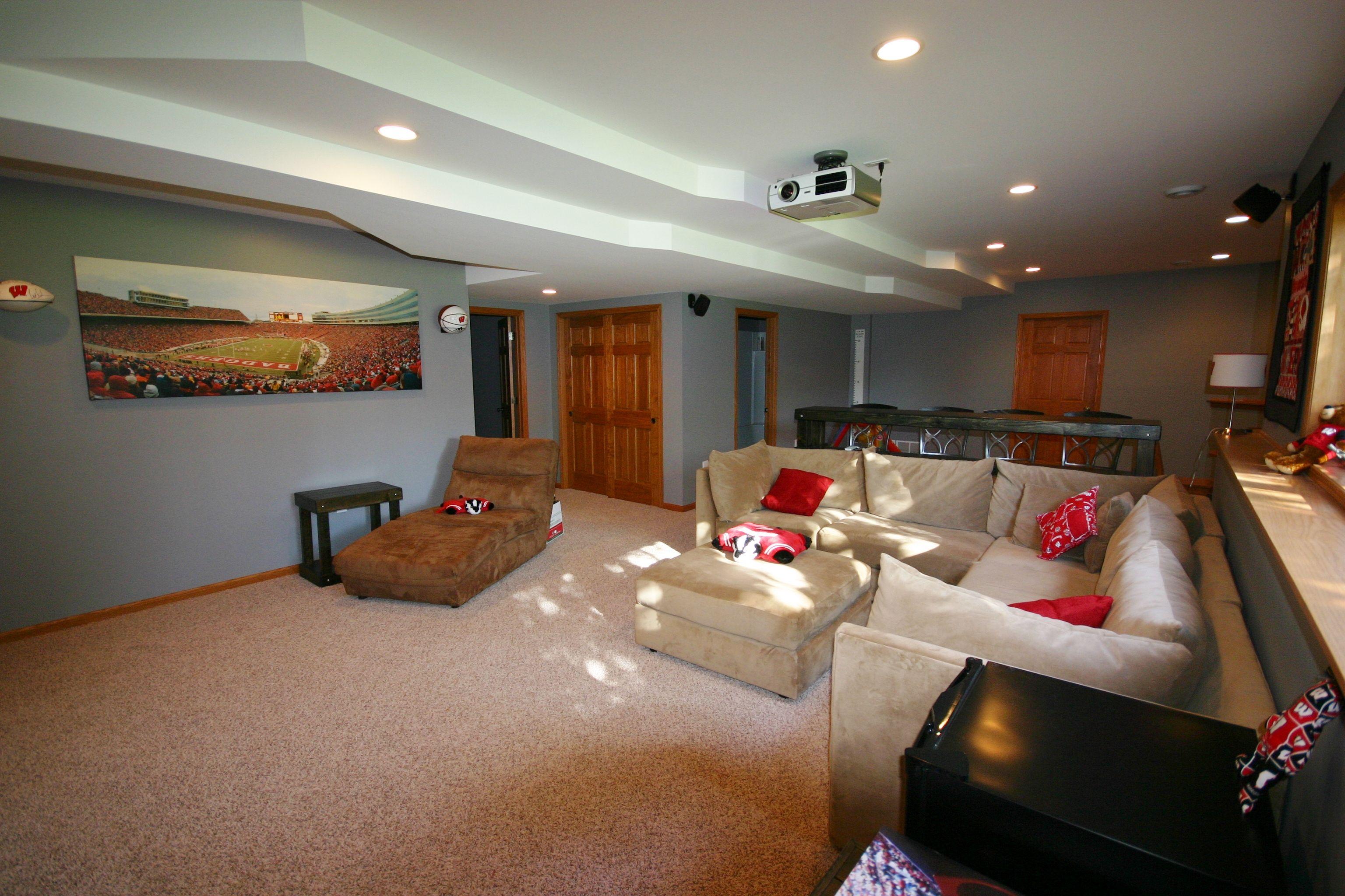 Basement Finish, With Carpeting, Oak Trimmed Ledge