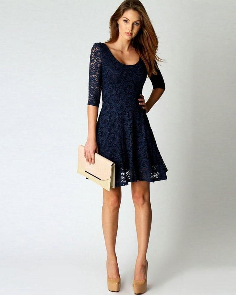 Dark blue long sleeve lace mini dress products