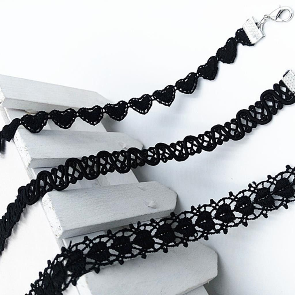 Necklace 3 PCS/ set  Free Shipping New Arrival Vintage Black Polyester Choker For Women