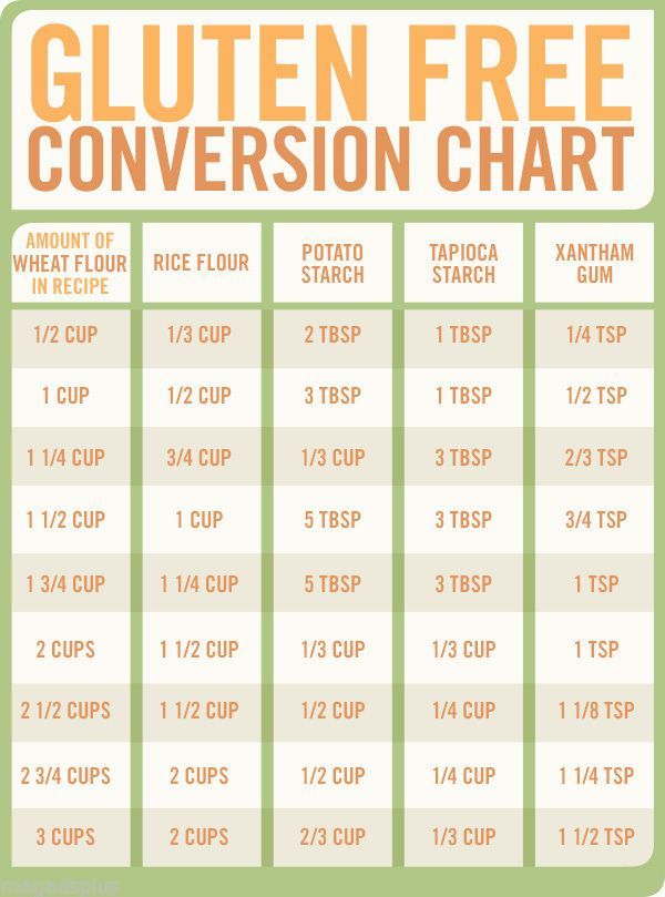 Gluten Free Conversion Chart Refrigerator Magnet Grain Free