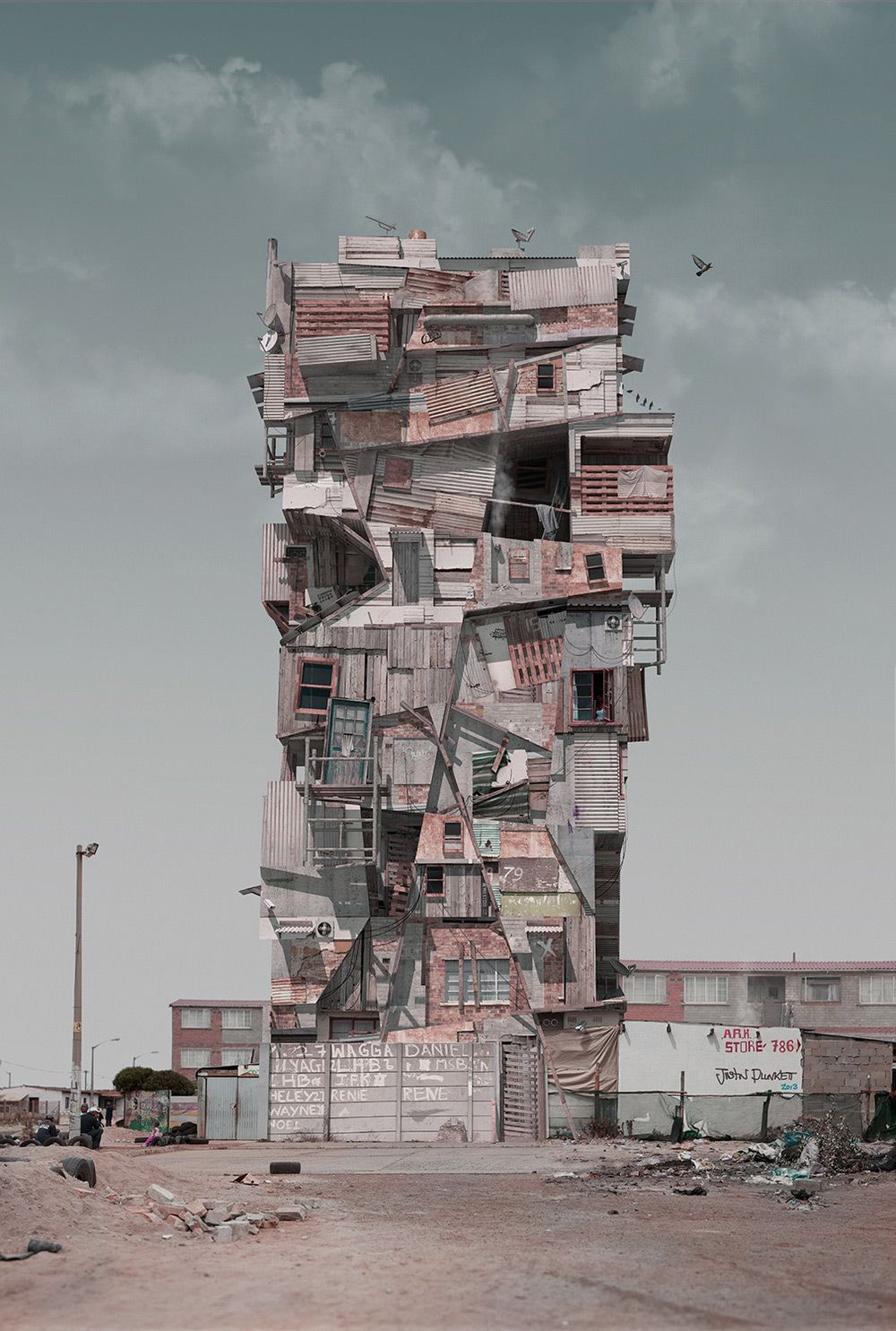 Created by South African designer Justin Plunkett, the so-called Con/struct series is meant to illustrate the overbearing influence of commercialization both on the way we live and on our urban landscape. Plunkett hopes his computer-animated work—which lo