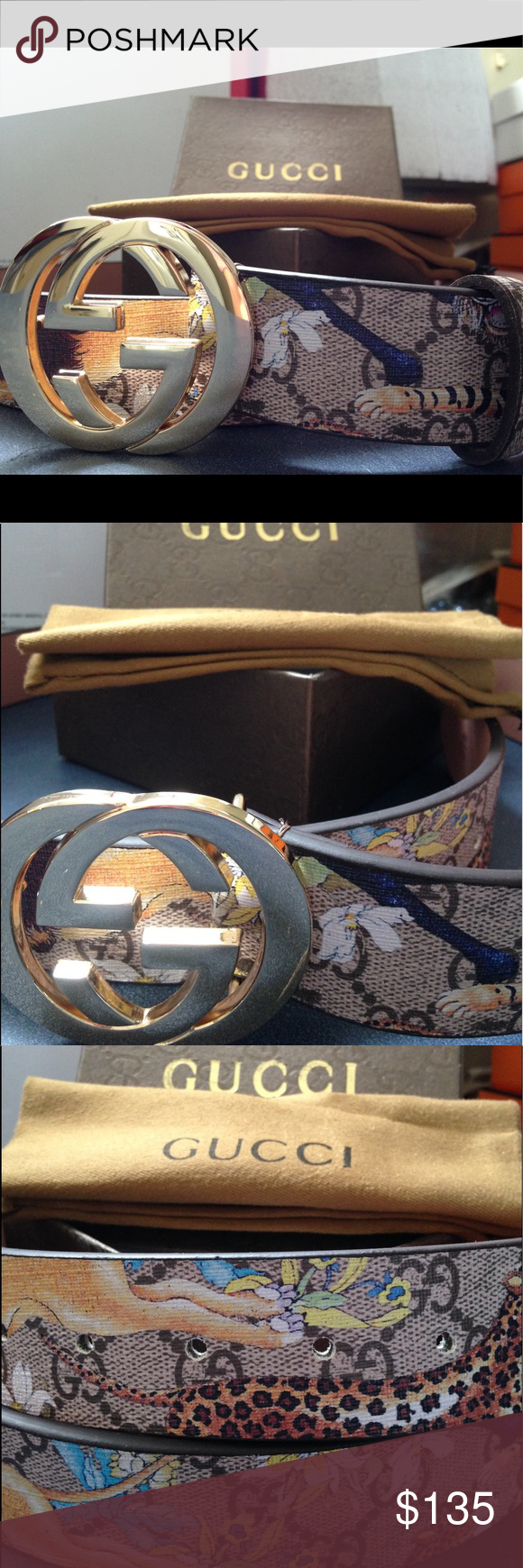 50bd9747ecd Men s Gucci belt New men s tiger and lion Desginer Gucci belt with gold  buckle ! Never worn comes with original Gucci dust bag and box men s size  30-34 this ...
