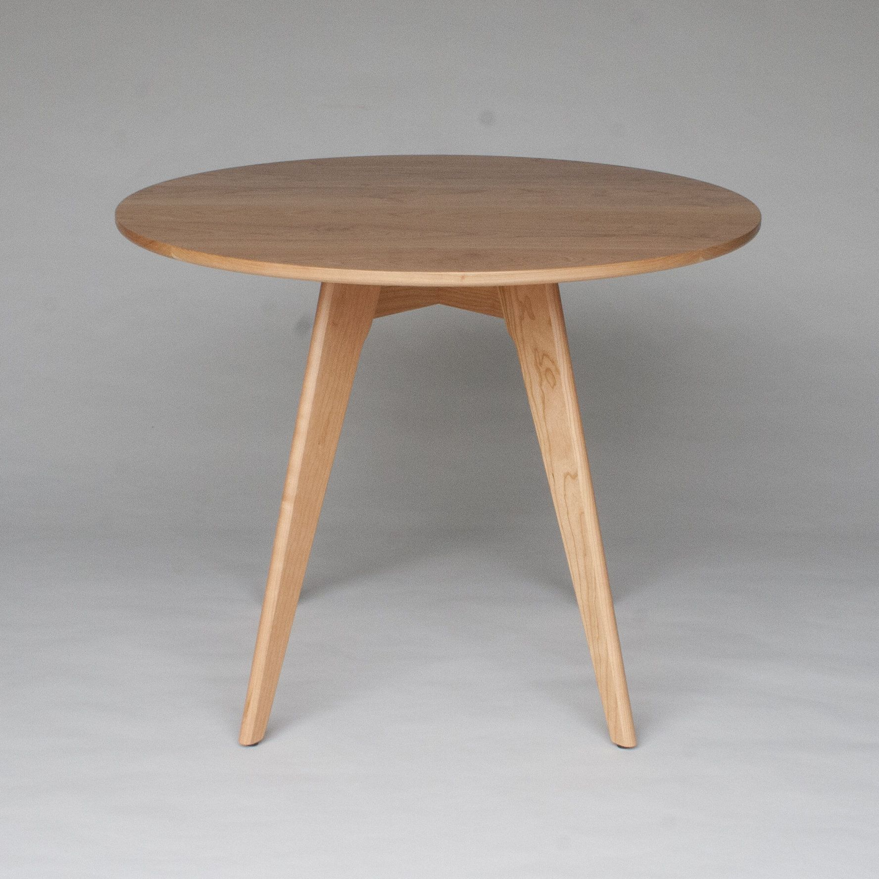 Small Round Dining Table In Solid Natural Cherry Wood Round Dining Table Round Dining Table Modern Mid Century Dining Table