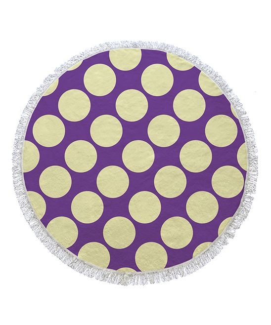 Purple & Cream Dots Round Towel