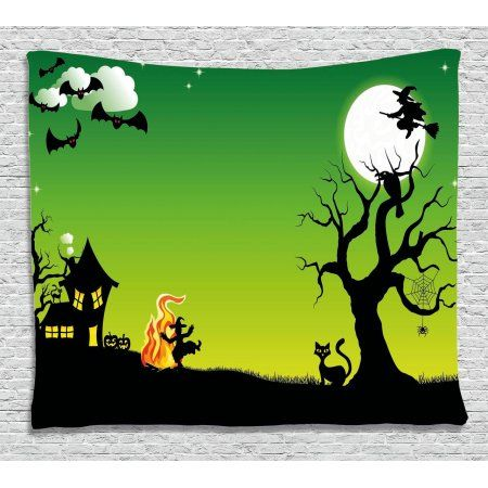 Halloween Decorations Tapestry, Witch Dancing with Fire at Halloween