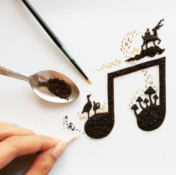 Mesmerizing Coffee Art by Indonesian Artist Ghidaq al
