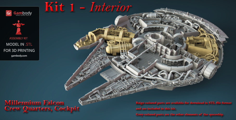 Order Kit 1 Of Star Wars Millennium Falcon Engine Cockpit And Crew Quarters Of High Detail
