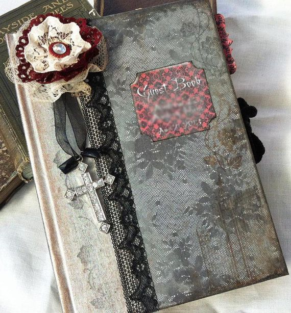Gothic Wedding guestbook  shabby chic by youruniquescrapbook, £79.99