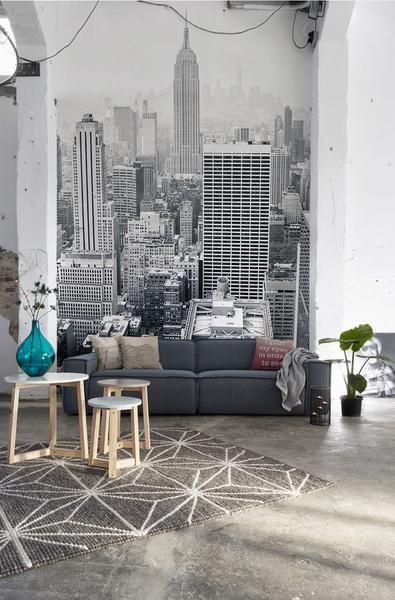 best wall murals for industrial themed living spaces basement reno rh pinterest ca new york city inspired living room new york inspired living room