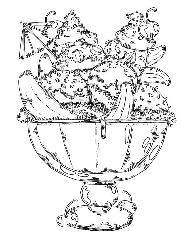 раскраски сладости шарики мороженое раскраски