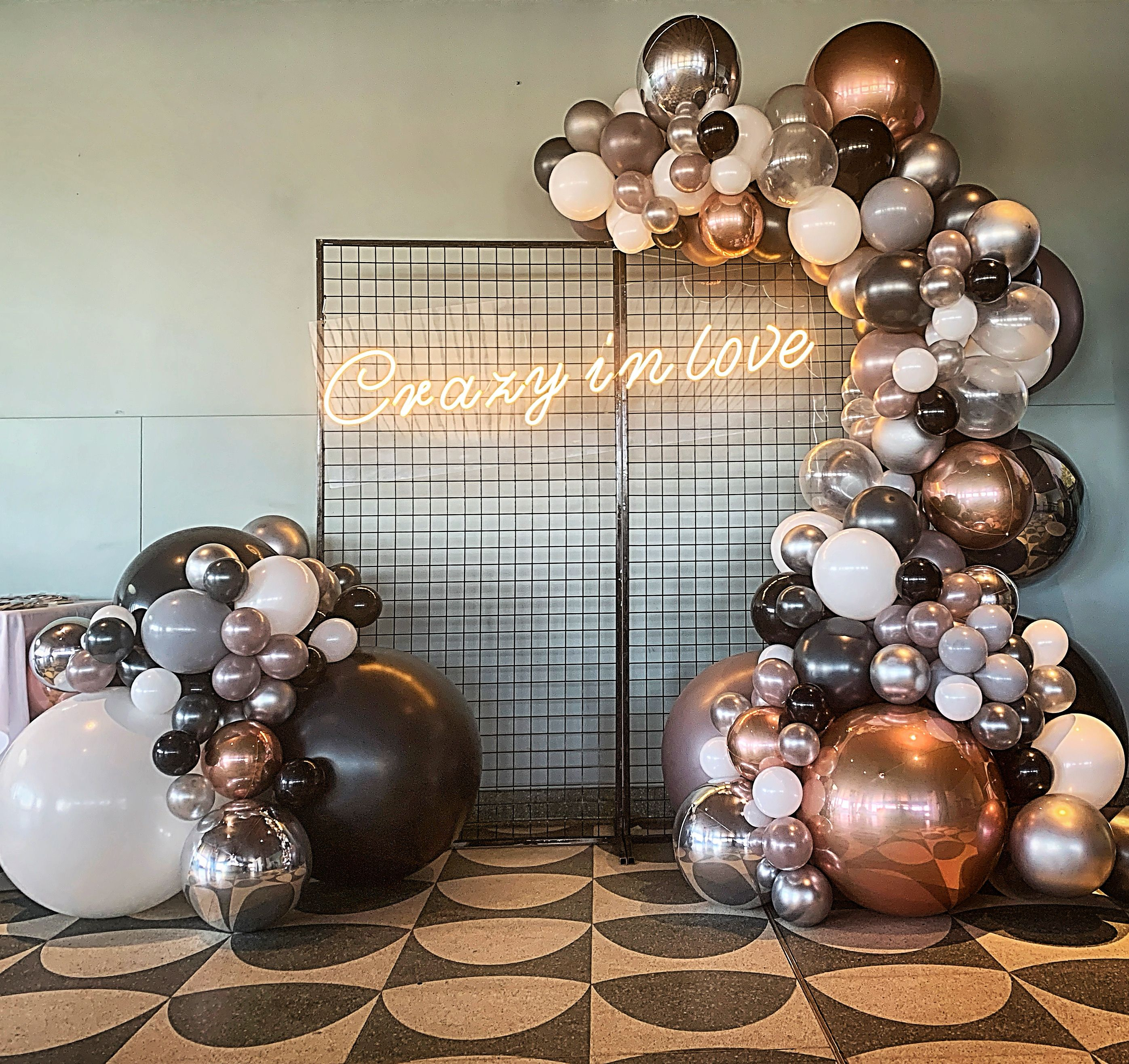 Crazy In Love Engagement Balloon Garland Black And Gold Balloons Gold Balloons Decorations Rose Gold Party