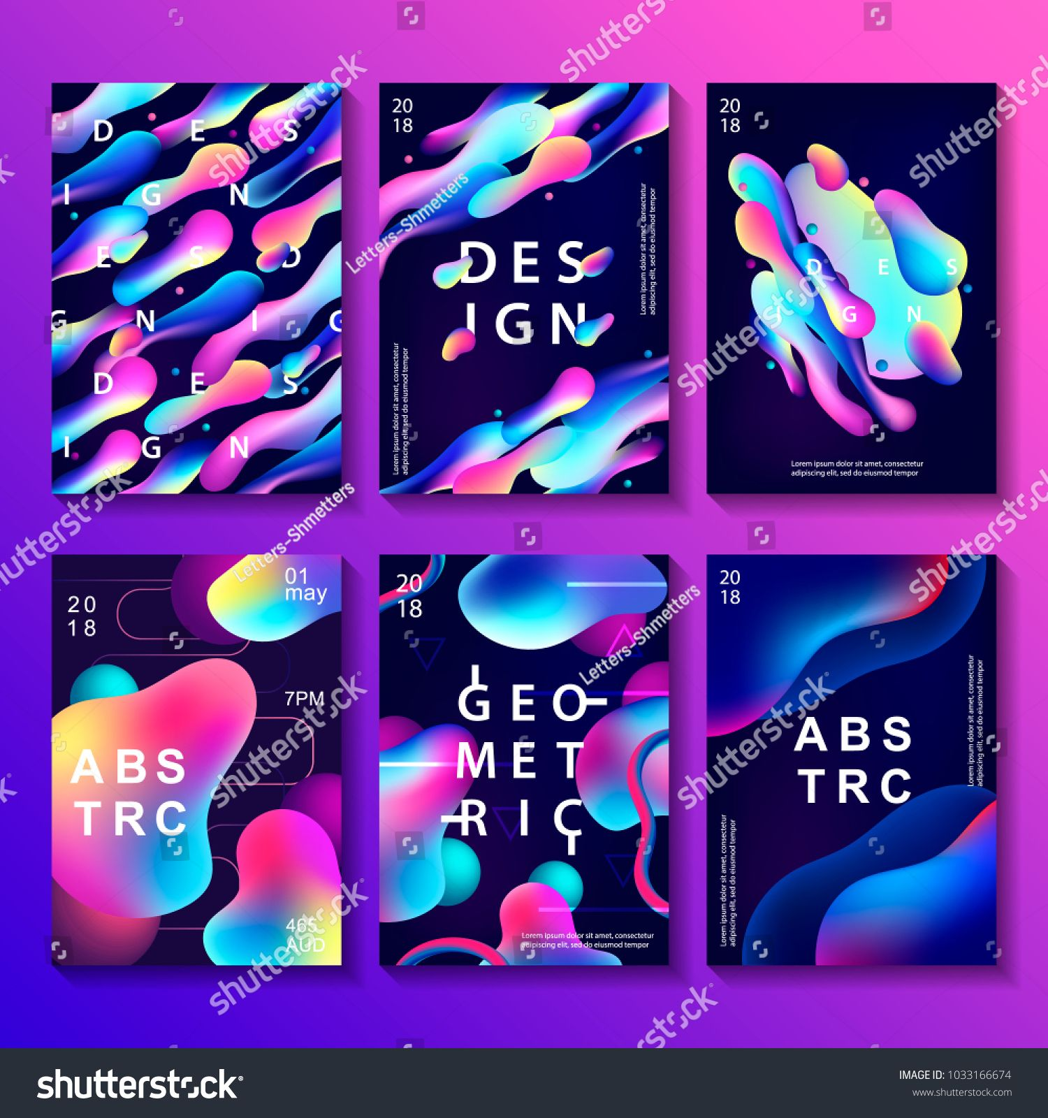 Set Of Creative Design Posters With Plastic Shapes Modern Style Abstraction Background Abstract Backgr Creative Poster Design Poster Design Futuristic Design