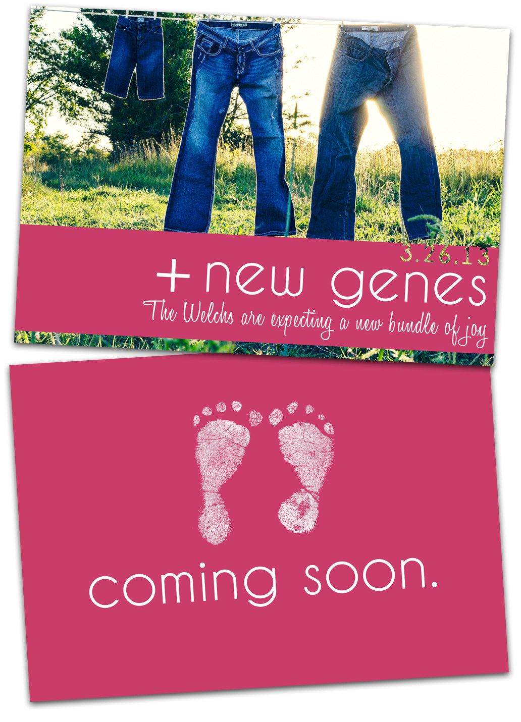 pregnancy announcement card  new baby genes  coming soon  expecting a baby announcement