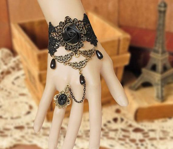 Black rose gothic slave bracelet