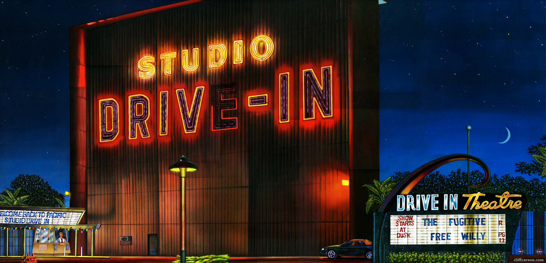 Canvas Painting Of Studio Drive In Movie Theatre In Culver City California By Cliff Carson Drive In Movie Theater Culver City Drive In Theater