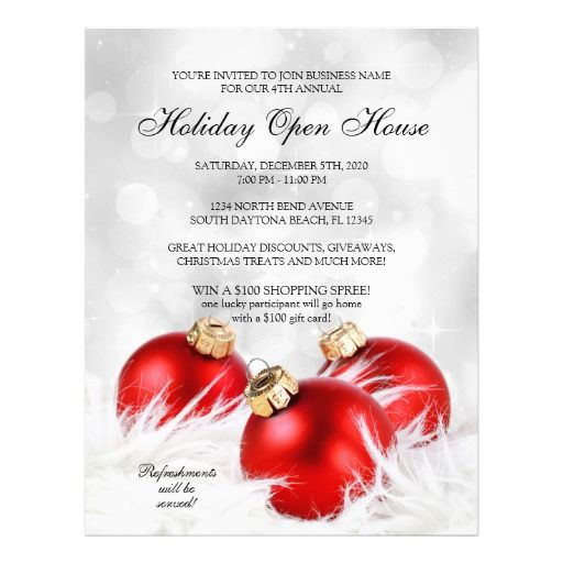 Christmas And Holiday Open House Flyer Templates Christmas And - business invitation templates