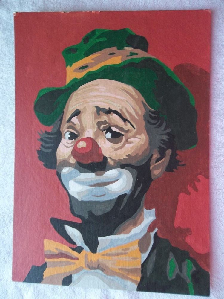 A Old Vintage PAINT By Numbers Panel CLOWNA