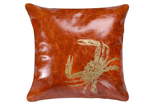 Crab 18x18 Pillow, Orange/Gold on OneKingsLane.com