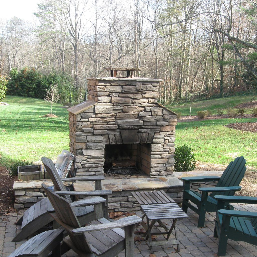 Outdoor Stone Fireplace Warming Up Exterior E Cost Designs
