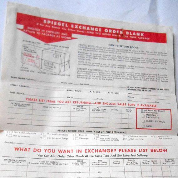 Vintage S Red Speigel Exchange Return Blank Order Form Spiegel