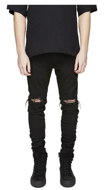 d17de94702 Aelfric Eden Streetwear Ripped Black Skinny Jeans for Men Kpop Casual Denim  Pants Blue Hip Hop Biker Men Male Jeans Trousers