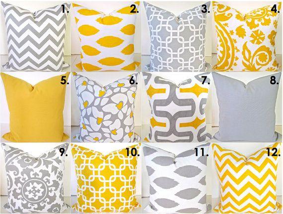 Federe Cuscini Gialle.Yellow Pillows Yellow Pillow Covers Gray Throw Pillows Yellow