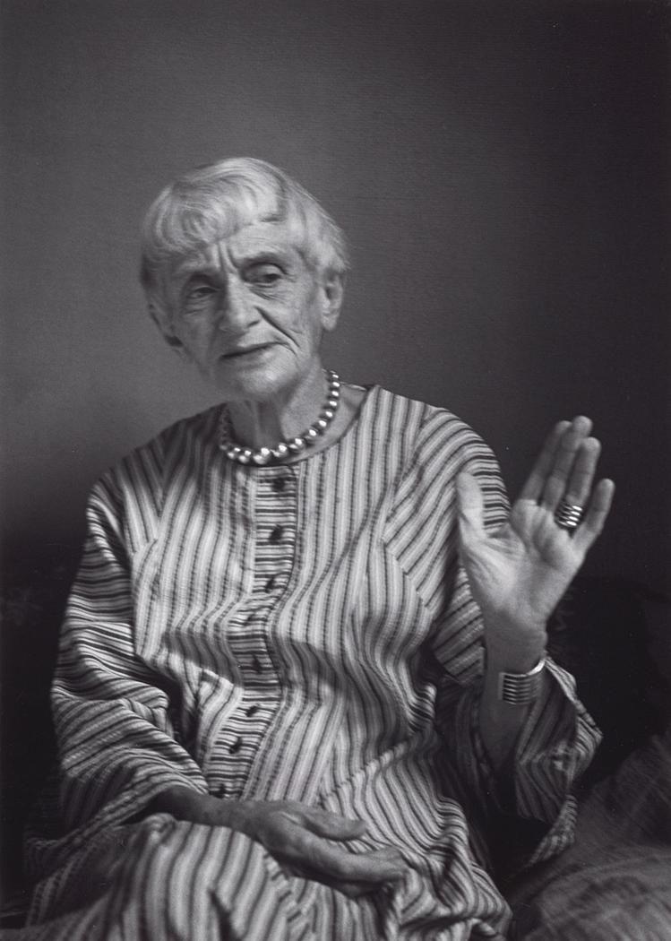 Aug 1965 Dorothea Lange, Berkeley, California [hand raised, palm out ...